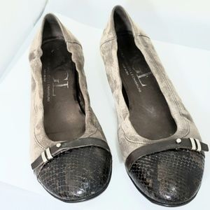 AGL Suede Flats Sz 40 with snakeskin look toe cap